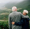 elderly couplee hug