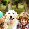 children with a cute dog