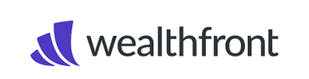 the logo of wealthfront black letters on a grey background wiht a symbol that looks like a sailboat